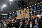 "Fans hold up a sign ""Felix + Schalke = Meister"" during the UEFA Champions League round of 16 second leg match between Schalke 04 and Valencia at Veltins Arena on March 9, 2011 in Gelsenkirchen, Germany."