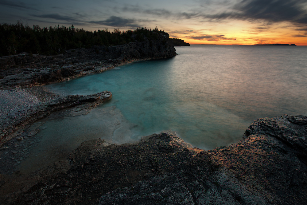 Clouds at Twilight  over Indian Head Cove, Bruce Peninsula National Park, Ontario, Canada