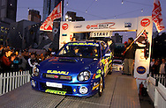 Cody Crocker & Greg Foletta at offical start.Subaru Impreza WRX.Motorsport-Rally.2003 NGK Rally of Melbourne.Yarra Valley, Victoria .5th of October 2003 .(C) Joel Strickland Photographics