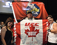 LAS VEGAS, NEVADA, JULY 10, 2009: Canadian fans hold banners showing their support for Georges St. Pierre ahead of the weigh-in for UFC 100 inside the Mandalay Bay Events Center in Las Vegas, Nevada