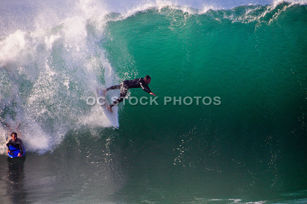 Swimming And Surfing Big Waves At The Wedge In Newport Beach