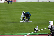 27.6.2012, Olympiastadion - Olympic Stadium, Helsinki, Finland..European Athletics Championship - Yleisurheilun EM-kisat..TV-kamera nurmella.