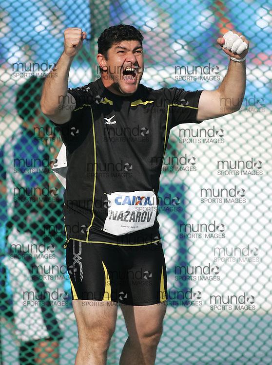 (Rio de Janeiro --- May 23, 2010) Dilshod Nazarov (  TJK) competes in the hammer throw at the 26th annual Grande Prêmio Internacional do Brasil Caixa de Atletismo (Brazil World Athletics Challenge International Grand Prix) at the João Havelange Olympic Stadium in Rio de Janeiro, Brazil.