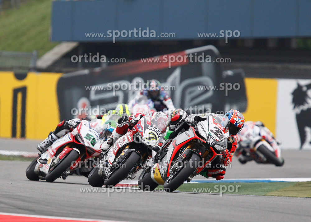 27.04.2014, TT Assen Circuit, Assen, NED, FIM, Superbike World Championship, Assen, Warm Up, Rennen, im Bild 33 Marco Melandri, 7 Chaz Davies, 58 Eugene Laverty // during the Warm up and Race of Round 3 - Assen FIM Superbike World Championship at the TT Assen Circuit in Assen, Netherlands on 2014/04/27. EXPA Pictures &copy; 2014, PhotoCredit: EXPA/ Eibner-Pressefoto/ Stiefel<br /> <br /> *****ATTENTION - OUT of GER*****