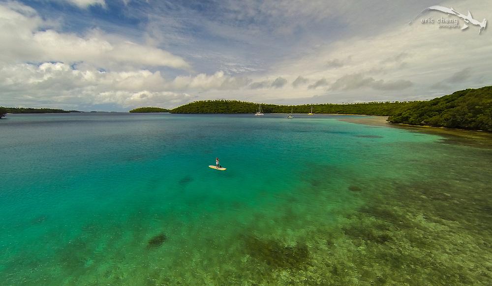 Paddleboarder near Vakaeitu, Vava'u, Tonga