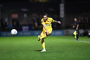 Chester defender Simon Grand (3) crosses the ball during the Vanarama National League match between York City and Chester FC at Bootham Crescent, York, England on 13 November 2018.