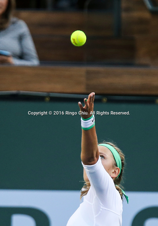 Victoria Azarenka of Belarus in actions defeating Magdalena Rybarikova of Slovakia during the women singles quaterfinals of the BNP Paribas Open tennis tournament on Thursday, March 17, 2016 in Indian Wells, California. Azarenka won 6-0, 6-0.(Photo by Ringo Chiu/PHOTOFORMULA.com)<br /> <br /> Usage Notes: This content is intended for editorial use only. For other uses, additional clearances may be required.