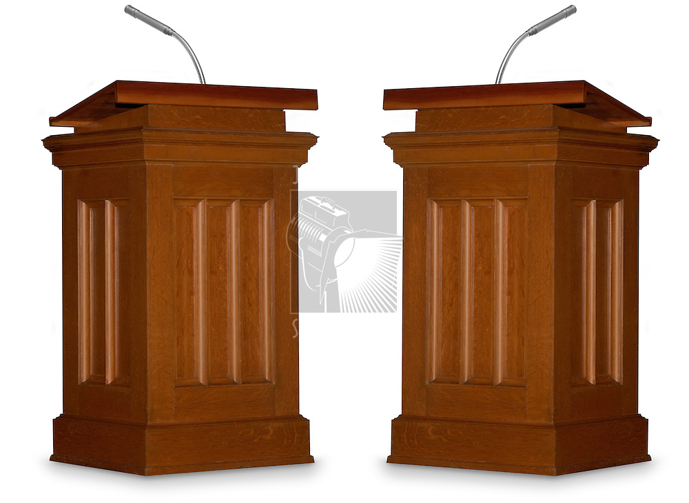 Two opposing podiums isolated on white background with microphone