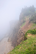 Cliffs in fog on Bay of Fundy, Cape d'Or, Nova Scotia, Canada