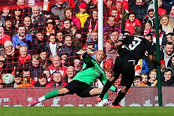 Ryan Babel fires a shot past Pepe Reina - Photo mandatory by-line: Dougie Allward/JMP - Mobile: 07966 386802 - 29/03/2015 - SPORT - Football - Liverpool - Anfield Stadium - Gerrard's Squad v Carragher's Squad - Liverpool FC All stars Game