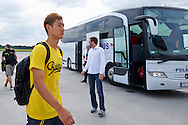 Dong-Won Ji of Dorussia Dortmund on Wroclaw's airport before international friendly soccer match between WKS Slask Wroclaw and BVB Borussia Dortmund on Municipal Stadium in Wroclaw, Poland.<br /> <br /> Poland, Wroclaw, August 6, 2014<br /> <br /> Picture also available in RAW (NEF) or TIFF format on special request.<br /> <br /> For editorial use only. Any commercial or promotional use requires permission.<br /> <br /> Mandatory credit:<br /> Photo by © Adam Nurkiewicz / Mediasport