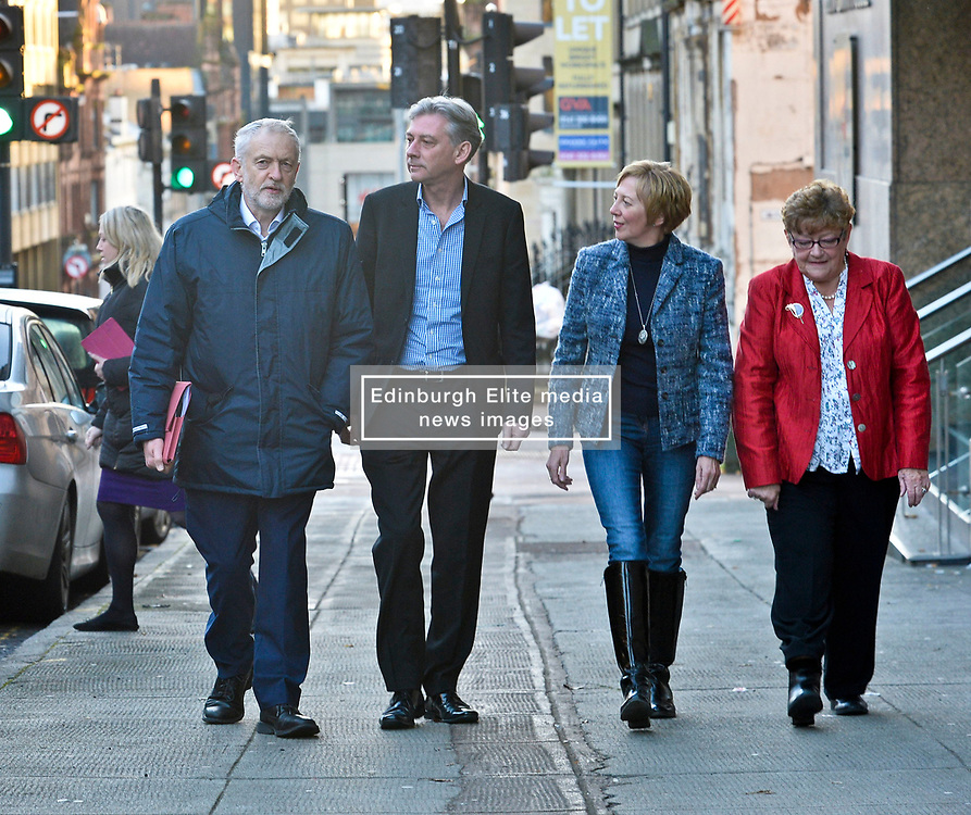 New Scottish Labour leader Richard Leonard welcomes Labour leader Jeremy Corbyn to the Labour NEC meeting in Glasgow on Sunday, flanked by Shadow Scottish Secretary Lesley Laird and NEC member Cathy Peattie.<br /> <br /> <br /> © Dave Johnston/ EEm