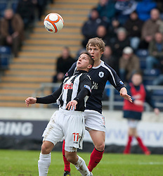 Dunfermline's Josh Falkingham and Falkirk's Stephen Kingsley..half time : Falkirk v Dunfermline, 16/2/2013..©Michael Schofield.
