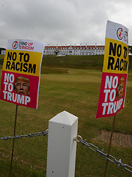 Pictured: protest sagainst US Presidential candidate Donald Trump as he arrives in Scotland to open his multi-million pound redevelopment of his Turnberry hotel and golf resort.<br /> <br /> <br /> &copy; Dave Johnston/ EEm