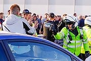 Charlton Athletic fans cause trouble outside the ground  and an office threatens to pepper spray one of them during the EFL Sky Bet League 1 Play Off second leg match between Shrewsbury Town and Charlton Athletic at Greenhous Meadow, Shrewsbury, England on 13 May 2018. Picture by Simon Davies.