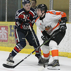 COCHRANE, ON - MAY 2: Owen Perala #10 of the Cochrane Crunch  makes the hit on Alec Johnson #14 of the Hearst Lumberjacks  during the second period on May 2, 2019 at Tim Horton Events Centre in Cochrane, Ontario, Canada.<br /> (Photo by Tim Bates / OJHL Images)