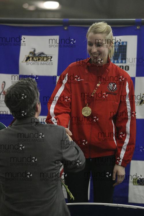 Windsor, Ontario ---13/03/09---  1 Heather Hamilton York University          4.10m .  2 Leah Vause                   Saskatchewan             3.90m               .  3 Erika Reiser                 Windsor                  3.75m  receive awards at the CIS track and field championships in Windsor, Ontario, March 13, 2009..Julie Robins Mundo Sport Images