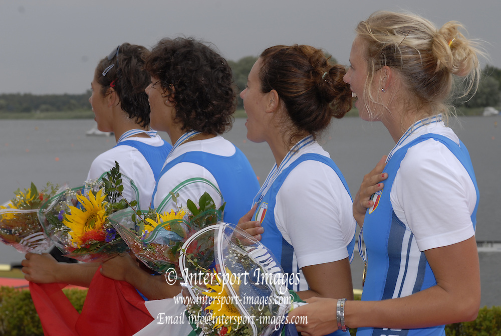 Brandenburg, GERMANY,  Sunday Finals.  ITA BW4+ listen to thier National Anthem,  2008 FISA U23 World Rowing Championships, Sunday, 20/07/2008, [Mandatory credit: Peter Spurrier Intersport Images].... Rowing Course: Brandenburg, Havel Rowing Course, Brandenburg, GERMANY