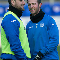 St Johnstone Training....30.12.14<br /> Lee Croft pictured alongside Chris Millar in training this morning ahead of the New Years Day game at Aberdeen.<br /> Picture by Graeme Hart.<br /> Copyright Perthshire Picture Agency<br /> Tel: 01738 623350  Mobile: 07990 594431