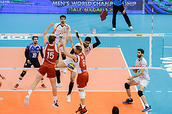 September 12, 2018 - Varna, Bulgaria - Jonathan Rodriguez, L, Angel Perez, R, Puerto Rico, during Iran vs Puerto Rico, pool D, during 2018 FIVB Volleyball Men's World Championship Italy-Bulgaria 2018, Varna, Bulgaria on September 12, 2018  (Credit Image: © Hristo Rusev/NurPhoto/ZUMA Press)