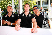 L_R, Lewis Brown, Brent Tate and Steve Price. Vodafone Warriors press conference to announce a 4 year sponsorship extension from Vodafone. Vodafone Head Office, Viaduct Harbour, Auckland.  Thursday 10 December 2009. Photo: Simon Watts/PHOTOSPORT