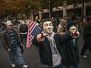 "5 November, 2013, Washington, DC. Masked supporters of ""Anonymous"" marched from the White House to the U.S. capitol."