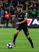 LAFC forward Diego Rossi (9) during a MLS soccer match against the Sporting KC in Los Angeles, Sunday, March 3, 2019. LAFC defeated Sporting KC, 2-1. (Ed Ruvalcaba/Image of Sport)