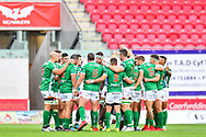 Benetton Treviso in a pre match huddle<br /> <br /> Photographer Craig Thomas/Replay Images<br /> <br /> Guinness PRO14 Round 3 - Scarlets v Benetton Treviso - Saturday 15th September 2018 - Parc Y Scarlets - Llanelli<br /> <br /> World Copyright © Replay Images . All rights reserved. info@replayimages.co.uk - http://replayimages.co.uk