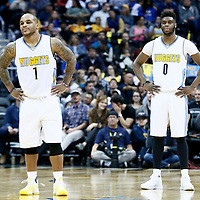 16 November 2016: Denver Nuggets guard Emmanuel Mudiay (0) is seen next to Denver Nuggets guard Jameer Nelson (1) during the Denver Nuggets 120-104 victory over the Phoenix Suns, at the Pepsi Center, Denver, Colorado, USA.