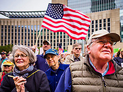 29 APRIL 2017 - MINNEAPOLIS, MINNESOTA: People in front of the federal courthouse in Minneapolis during the People's Climate Solidarity March. Thousands of people marched through downtown Minneapolis and rallied around the US Federal Courthouse to participate in the People's Climate Solidarity March. The Minneapolis march coincided with other marches to protest the climate change policies of President Trump and the Republican Party that were held across the US. It took place just one week after a series of large marches in support science and fact based decision making.     PHOTO BY JACK KURTZ