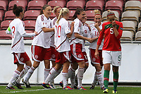 20111026 Barcelos: Portugal vs. Dinamarca, UEFA Women's Euro 2013 Qualifying, Group 7. In picture: Denmark players celebrate a goal. Photo: Pedro Benavente/Cityfiles