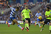 A shot on goal for Reading's Nick Blackman during the Sky Bet Championship match between Reading and Brighton and Hove Albion at the Madejski Stadium, Reading, England on 31 October 2015. Photo by Mark Davies.