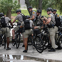 A strong police presence is seen throughout the city during the Republican National Convention in Tampa, Fla. on Wednesday, August 29, 2012. (AP Photo/Alex Menendez)