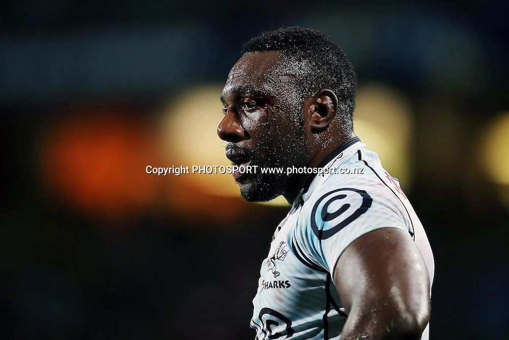 Tendai Mtawarira of the Sharks looks on. Super Rugby rugby union match, Blues v Sharks at North Harbour Stadium, Auckland, New Zealand. Friday 23rd May 2014. Photo: Anthony Au-Yeung / photosport.co.nz