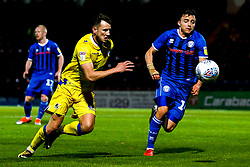 Ollie Clarke of Bristol Rovers takes on Ollie Rathbone of Rochdale - Mandatory by-line: Robbie Stephenson/JMP - 02/10/2018 - FOOTBALL - Crown Oil Arena - Rochdale, England - Rochdale v Bristol Rovers - Sky Bet League One