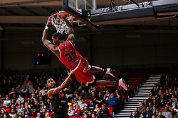 Fred Thomas of Bristol Flyers slam dunks - Photo mandatory by-line: Robbie Stephenson/JMP - 11/01/2019 - BASKETBALL - Leicester Sports Arena - Leicester, England - Leicester Riders v Bristol Flyers - British Basketball League Championship