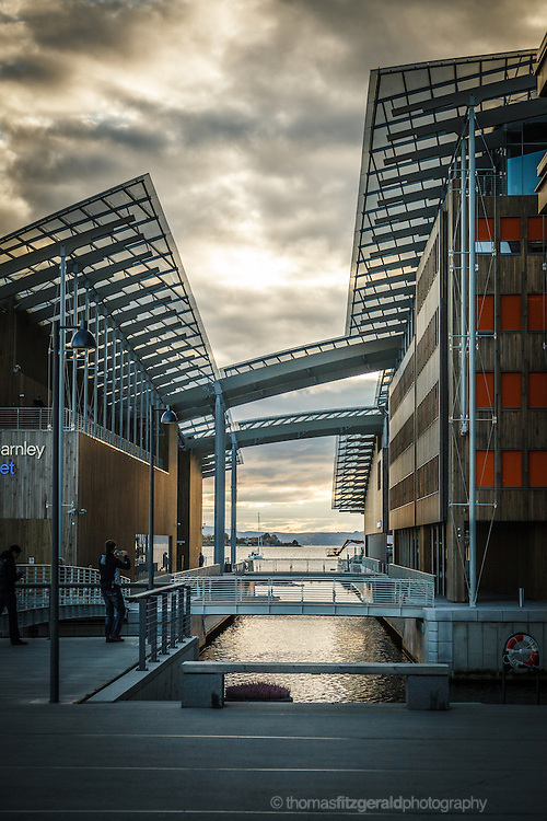 Oslo, Norway, October 2012: A channel of water seperates two halves of the architecturally interesting Astrup Fearnley Museum in oslo