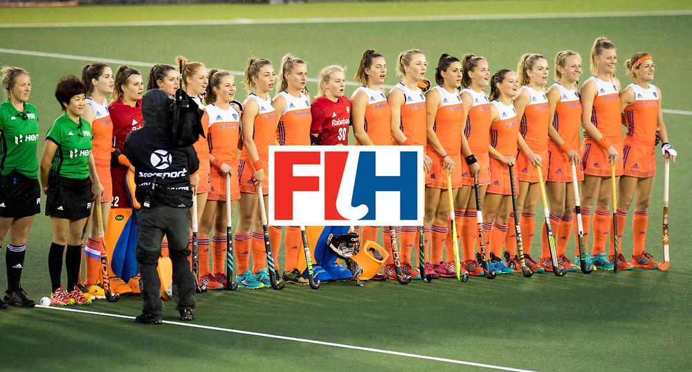 AUCKLAND - Sentinel Hockey World League final women<br /> Match id 10296<br /> 06 Usa v Netherlands<br /> Foto: Line up Netherlands.<br /> WORLDSPORTPICS COPYRIGHT FRANK UIJLENBROEK