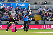 (Caption correction) David Wiese of Sussex hits the ball to the boundary for four runs during the Vitality T20 Finals Day Semi Final 2018 match between Worcestershire Rapids and Lancashire Lightning at Edgbaston, Birmingham, United Kingdom on 15 September 2018.