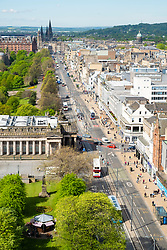 View along Princes Street in Edinburgh, Scotland, United Kingdom, UK