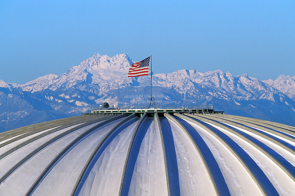 Kingdome and USA flag with Olympic Mountains in background, Seattle, Washington
