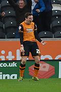 Hull City defender Andrew Robertson celebrates Hull City striker Abel Hernandez scoring to go 2-0 up during the Sky Bet Championship match between Hull City and Birmingham City at the KC Stadium, Kingston upon Hull, England on 24 October 2015. Photo by Ian Lyall.
