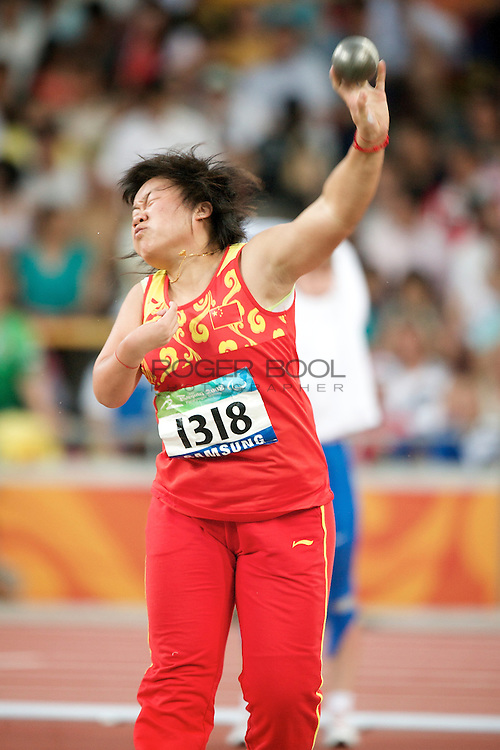 SHOT PUT in The Birds Nest National Staduim competing in the at the Paralympic games, Beijing, China. 11th September 2008