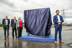 Pictured: Humza Yousaf was joined by officials from Falkirk Council as he unveiled the new branding<br /> <br /> Transport Minister Humza Yousaf spoke to stakeholders today at Falkirk Stadium as he outlined the Electric A9 vision with further support announced. <br /> <br /> <br /> Ger Harley | EEm 20 June 2018