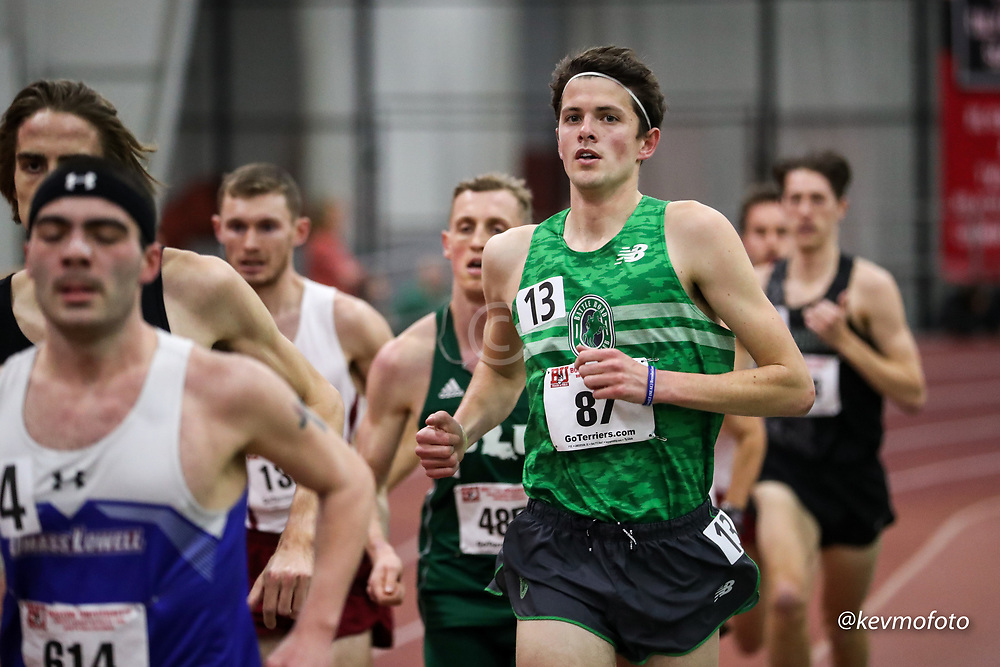 Bruce LeHane Scarlet and White<br /> Indoor Track & Field<br /> mens 3000m, BRTC, NB, Kevin Greene