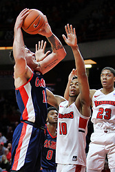 NORMAL, IL - December 08: Phil Fayne defends Dominik Olejniczak during a college basketball game between the ISU Redbirds and the University of Mississippi (Ole Miss) Rebels on December 08 2018 at Redbird Arena in Normal, IL. (Photo by Alan Look)