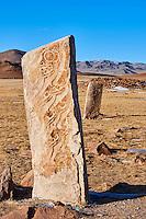 Mongolie, province de Khovsgol, environs de Moron, Uushigiin Uver, site de pierre a cerf // Mongolia, Khuvsgul province, Moron, group of Deer Stones of Uushigiin Uver