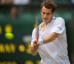LONDON, ENGLAND - Saturday, June 27, 2009: Andy Murray's during his 6-2, 6-3, 6-4 Gentlemen's Singles 3rd Round victory on day six of the Wimbledon Lawn Tennis Championships at the All England Lawn Tennis and Croquet Club. (Pic by David Rawcliffe/Propaganda)