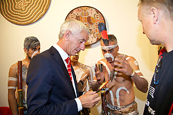 ADELAIDE, AUSTRALIA - Sunday, July 19, 2015: Liverpool's Ian Rush is presented with a feather from Adelaide Kaurna Aboriginal community's Karl Winda Telfer during a visit to the Art Gallery of South Australia ahead of a preseason friendly match against Adelaide United on day seven of the club's preseason tour. (Pic by David Rawcliffe/Propaganda)