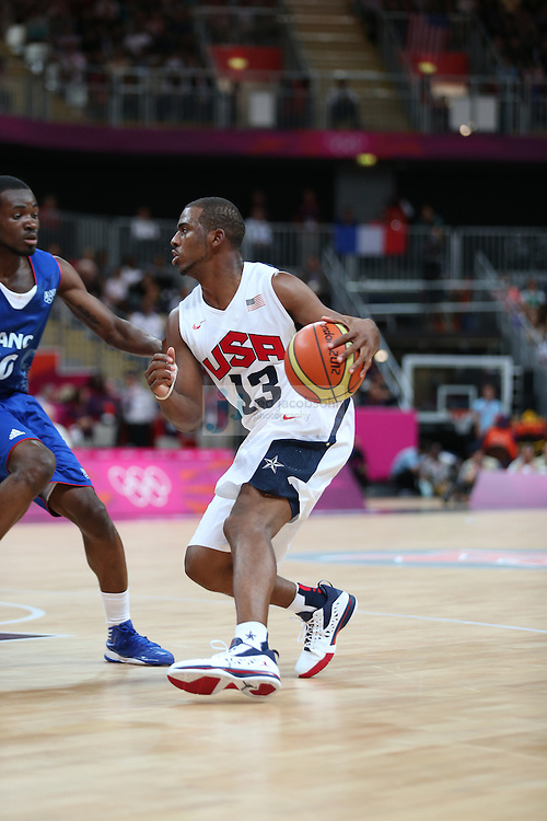 Chris Paul of the USA in action against France during Day 2 of the London Olympic Games in London, England, United Kingdom on 29 Jul 2012..(Jed Jacobsohn/for The New York Times)....